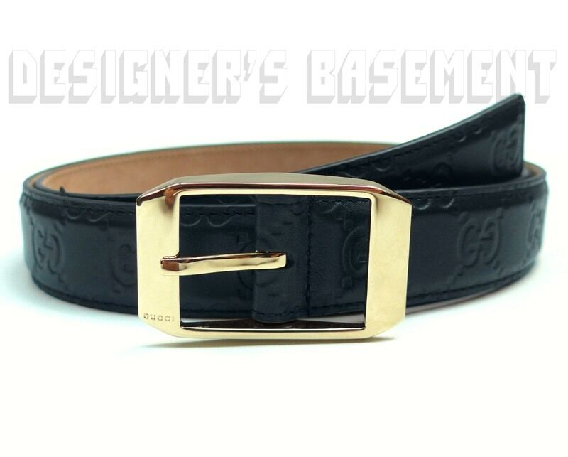 gucci navy blue guccissima leather gold buckle mens