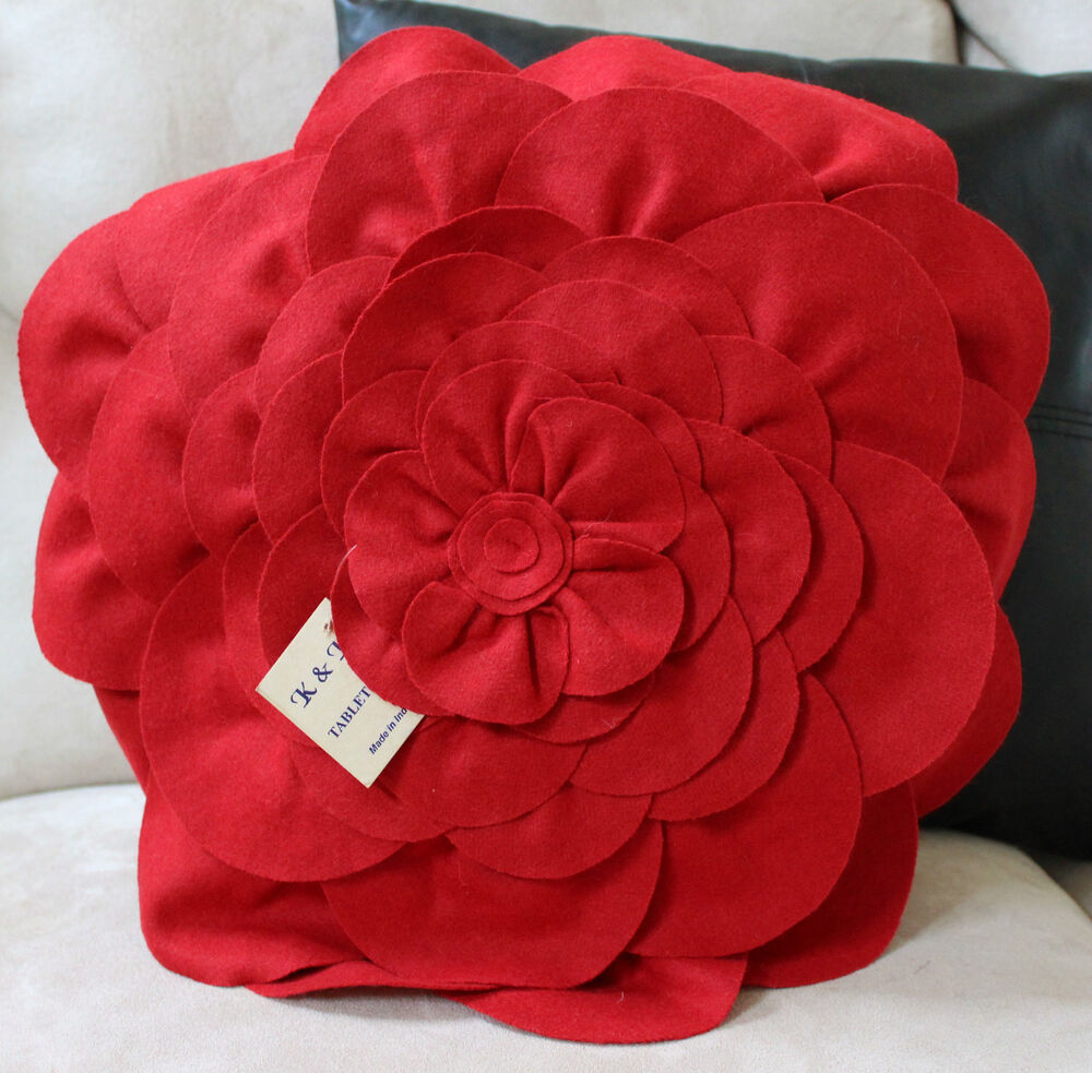 Red Throw Pillows For Bed : Red Flower Pillow Cover Case Bed Accent Decorative Designer Home Bed Decorator eBay