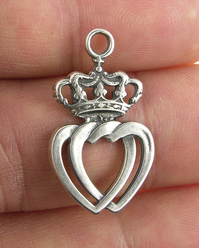 CROWNED INTERTWINED HEARTS OF JESUS AND MARY Medal, silver ...