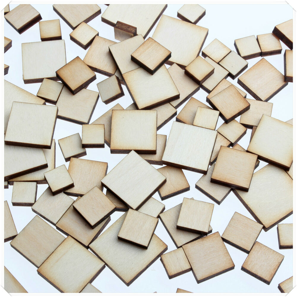 50pcs WOODEN MINI MIXED WOOD SQUARE DECOR IDEAL CRAFT CARD MAKING ...