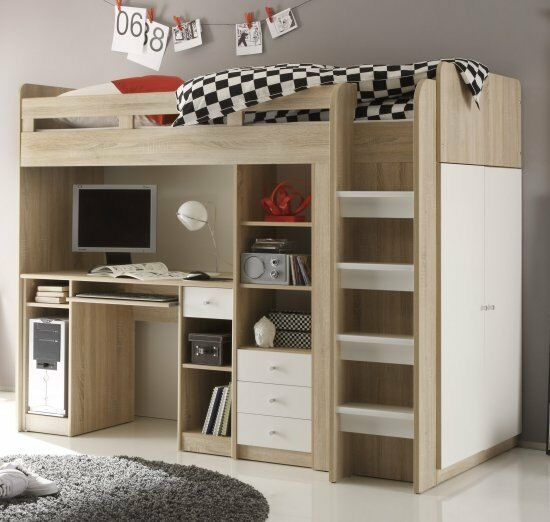 kinderbett hochbett dennis etagenbett mit schreibtisch massiver kiefer 90 200 cm natur com. Black Bedroom Furniture Sets. Home Design Ideas