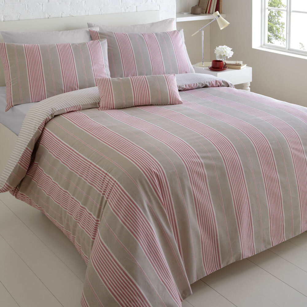 Abode Regatta Stripe Stripy Striped Taupe Natural Duvet