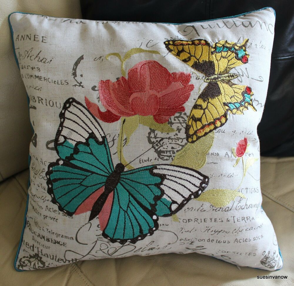 Butterfly embroidered pillow cover accent decorative for Designer accent pillows
