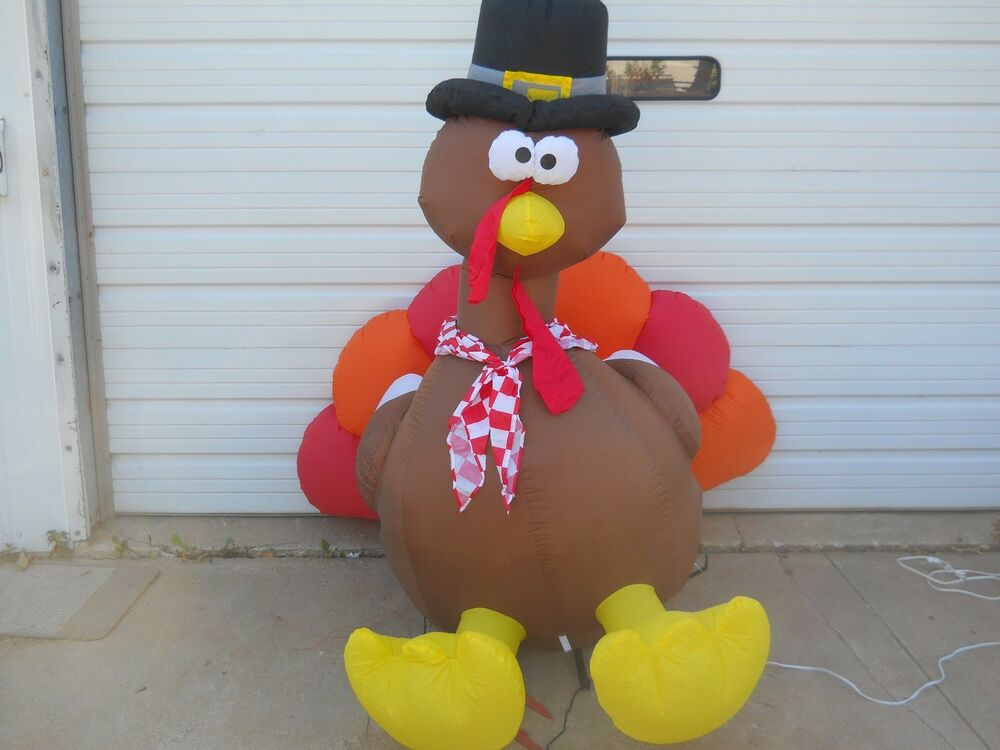 Gemmy lighted 6ft tall thanksgiving fall tom turkey for Airblown turkey decoration