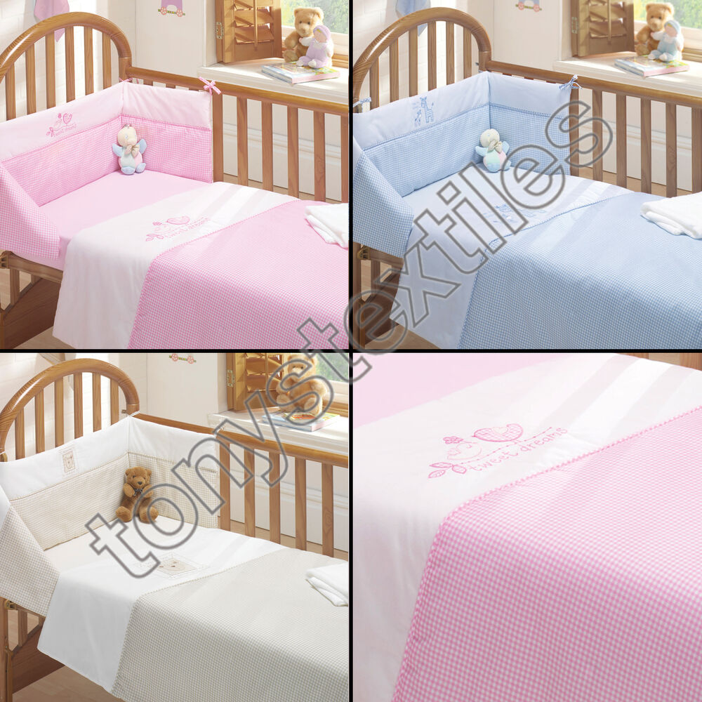 Our baby bedding sets are a quick and easy way to make your nursery as cosy as possible. Multi-piece sets provide you with all the essentials you need to decorate your baby's cot. Choose an all-in-one bundle with pillowcases, sheets and blankets, or pick a bumper and quilt pairing to add extra snugness to your baby's sleep.