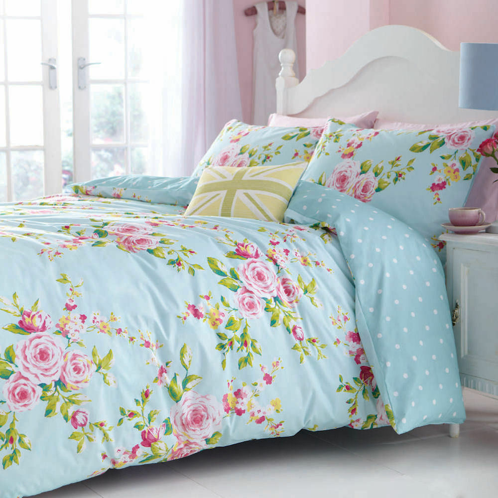 Blue polka dot bedding - Canterbury Floral Blue White Polka Dot Reversible Duvet Quilt Cover Bedding Set Ebay
