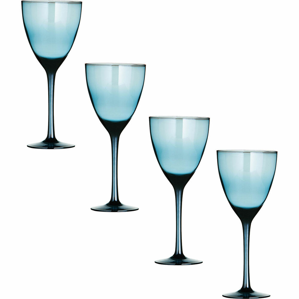 Set of 4 large hand crafted blue lustre wine glasses red for Large white wine glasses