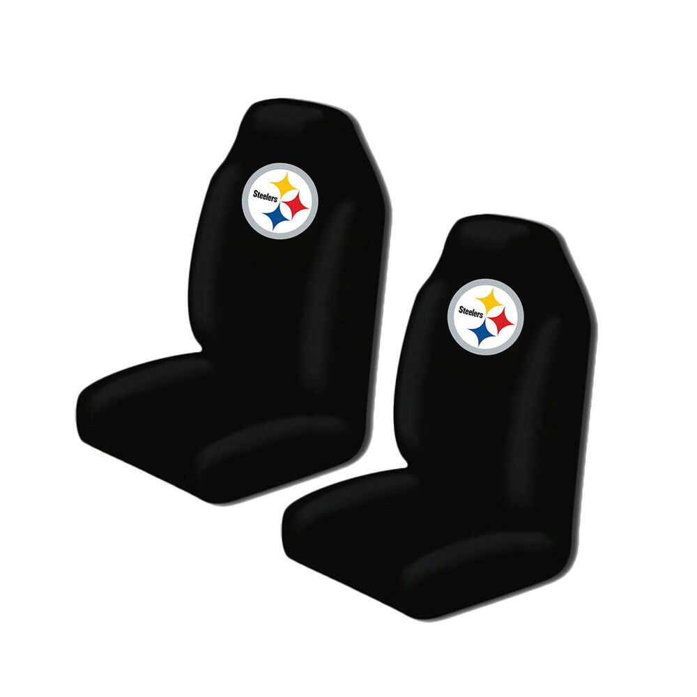 new nfl pittsburgh steelers 2 front universal fit car truck bucket seat covers ebay. Black Bedroom Furniture Sets. Home Design Ideas