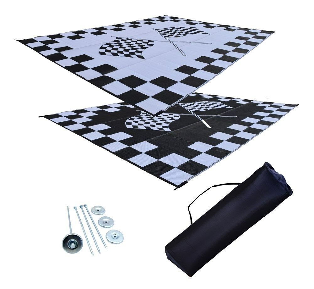 Finish Line Motors >> Patio Mat RV Awning Mat Finish Line Racing Checkered Flags Reversible Mat 9x12 | eBay
