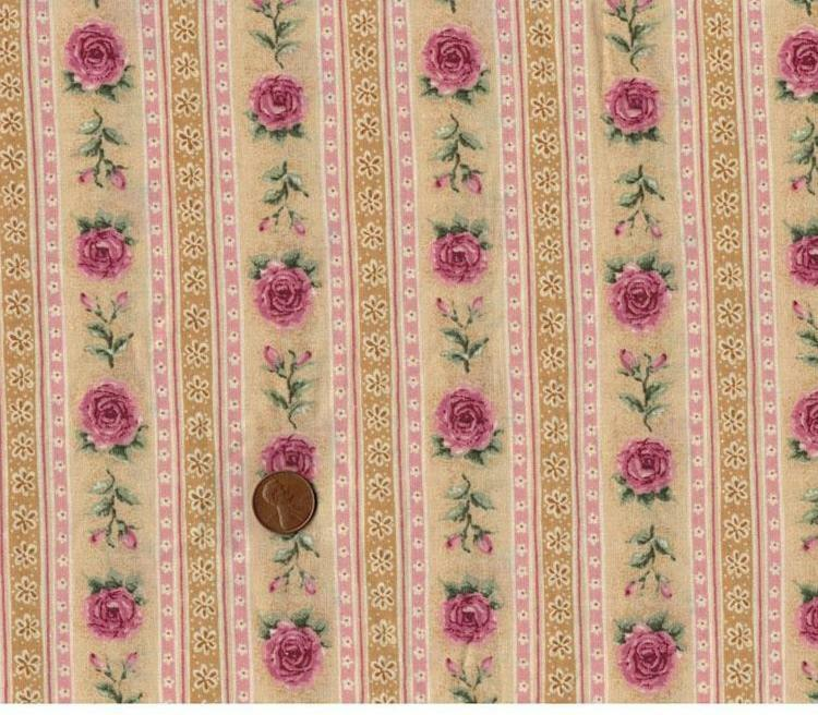 Shabby Cottage Rose Floral Pink Mauve Yellow Gold Quilt