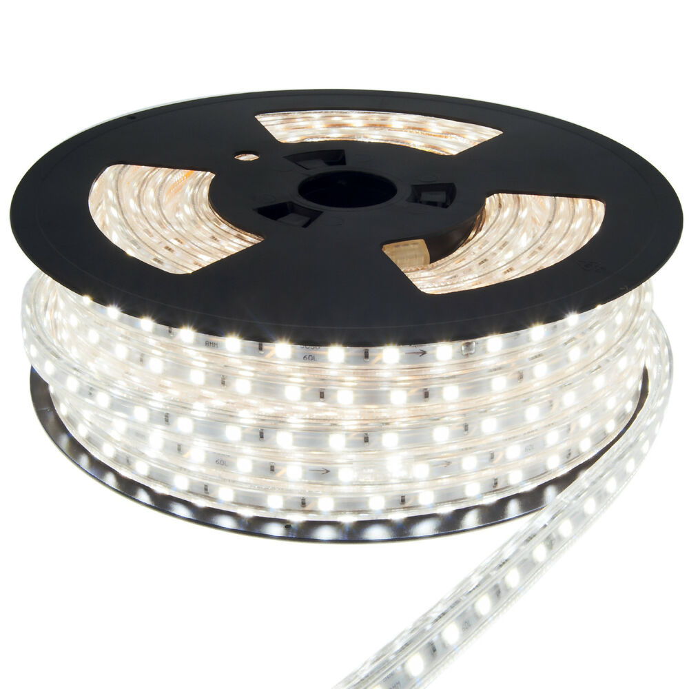 100m 50m 30m 25m 20m led strip wei kaltwei 230v f r innen und au en garten ebay. Black Bedroom Furniture Sets. Home Design Ideas
