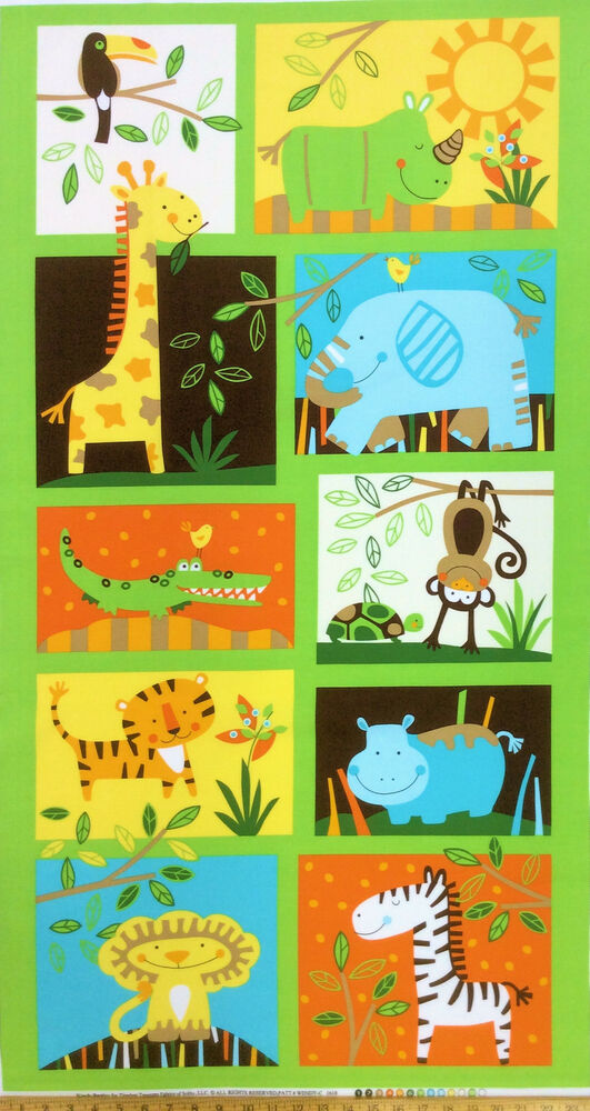 Childrens jungle animals quilt fabric panel timeless for Children s fabric panels