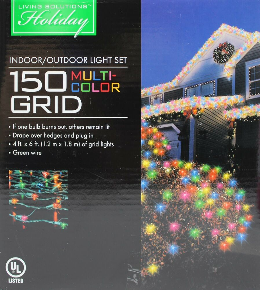 Living Solutions Holiday 150 Multi Color 4x6 Grid Lights ...