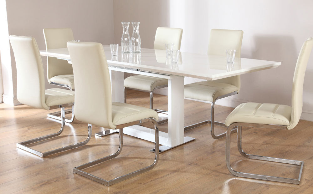 tokyo perth extending white high gloss dining table 4 6 8 chairs set ivory ebay. Black Bedroom Furniture Sets. Home Design Ideas