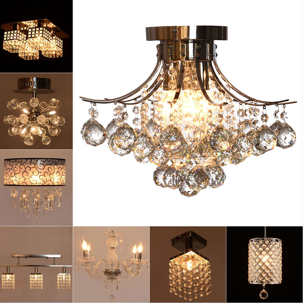 fixture ceiling light lighting crystal pendant chandelier lamp ebay