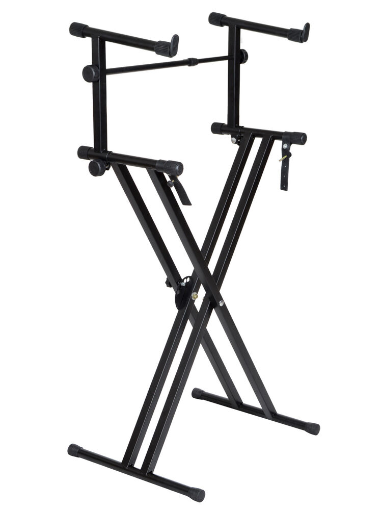 x style pro dual music keyboard stand electronic piano double 2 tier adjustable ebay. Black Bedroom Furniture Sets. Home Design Ideas