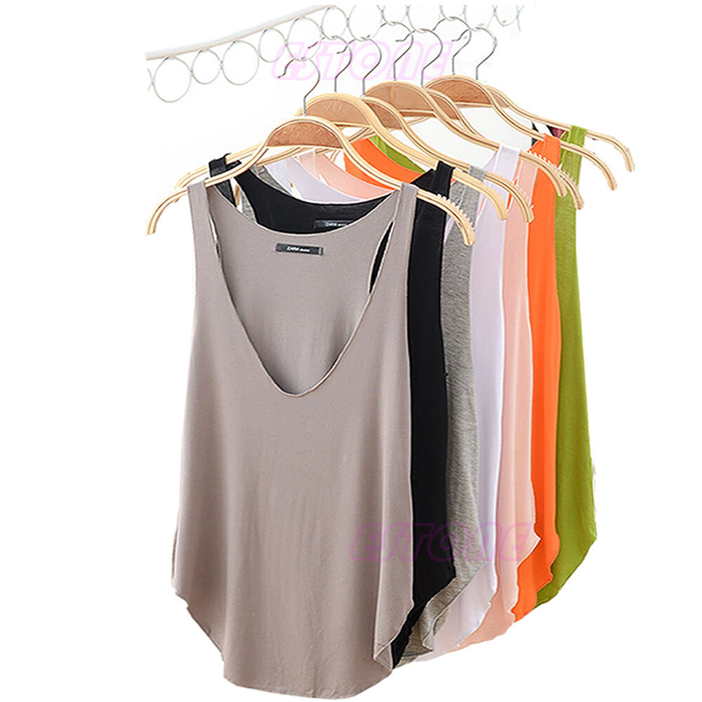 Sexy fashion soft womens v neck vest summer loose for Sleeveless shirts for ladies