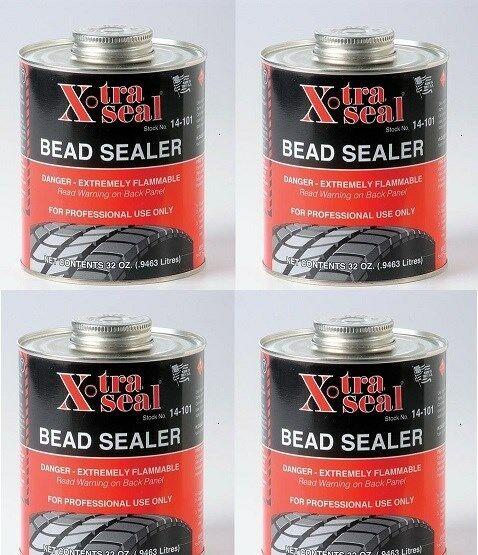 4 pc -X-TRA SEAL Tire Bead Sealer-Black w/Brush Top Can 1 ...