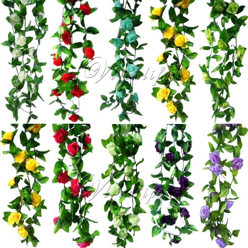 Artificial silk rose flower ivy vine leaves hanging for Artificial leaves for decoration
