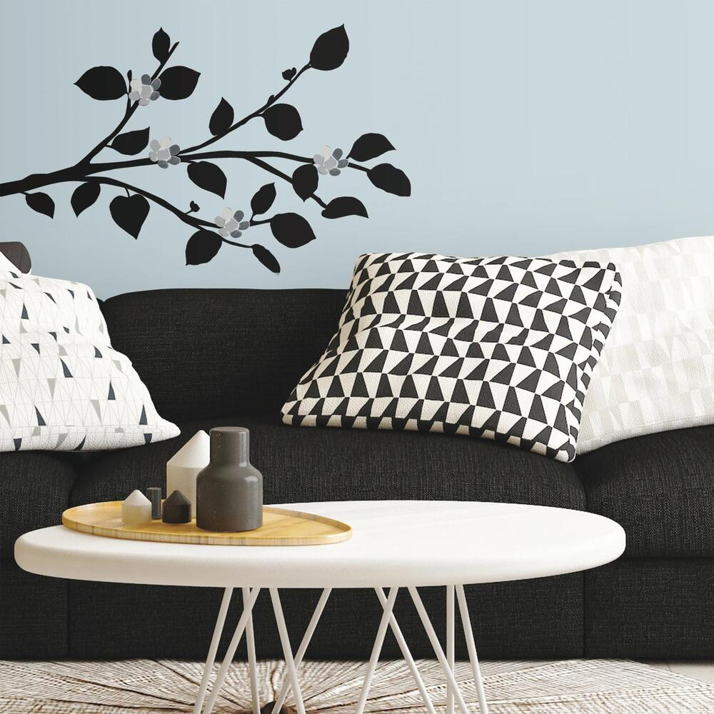 New modern black branch wall decals w bendable flower for Wall stickers decor modern