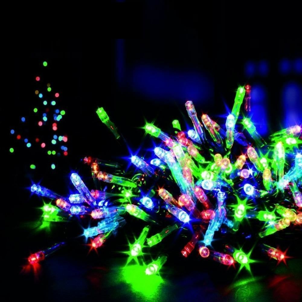 Festive multi colour led fairy string lights christmas for Outdoor christmas lights