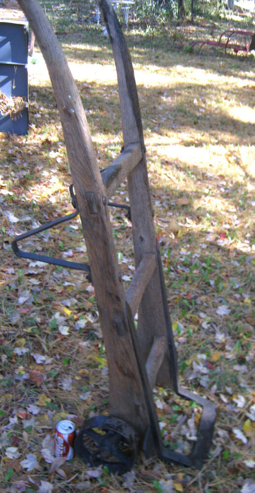 Antique Primitive Industrial Wood Cast Iron Dolly Hand