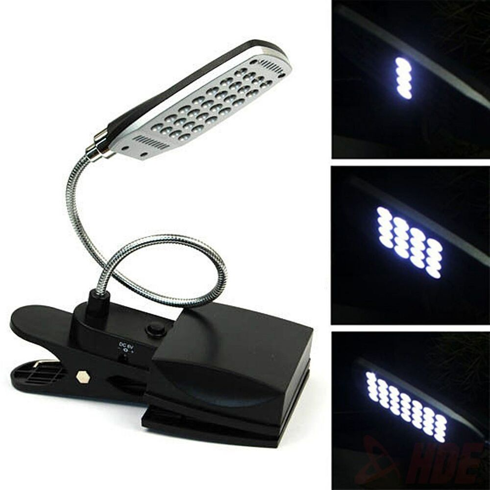 28 led flexible usb battery clip on reading lamp. Black Bedroom Furniture Sets. Home Design Ideas