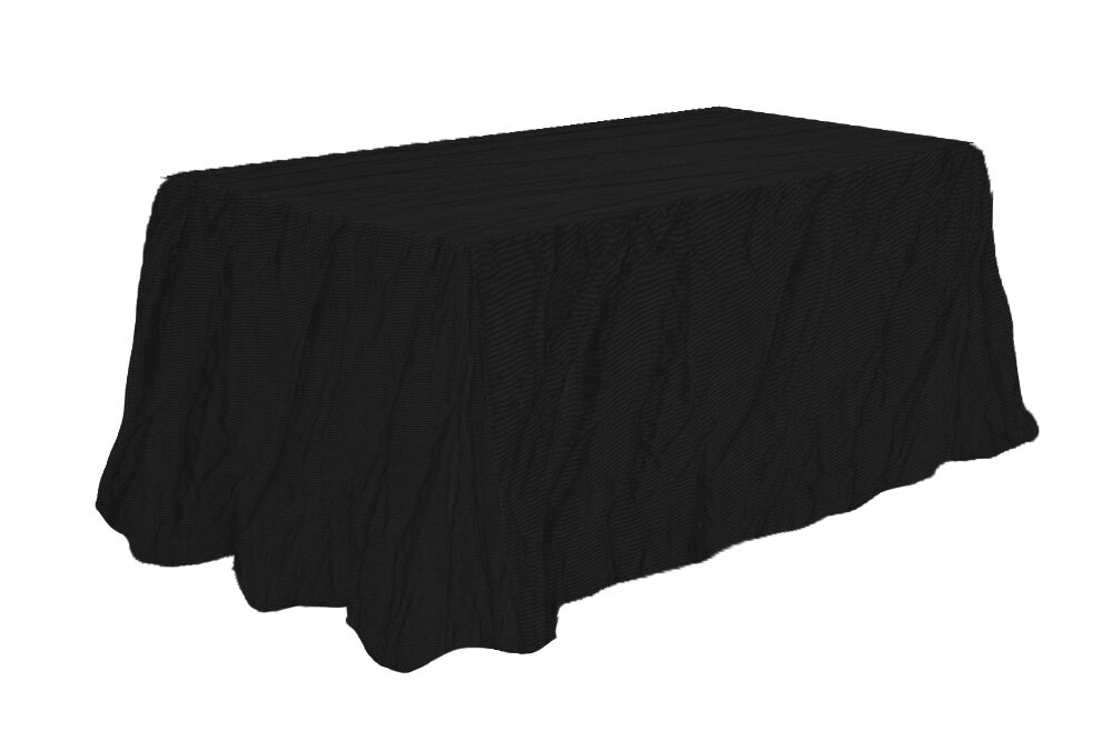 Black crushed taffeta 90 x 132 wedding tablecloth table for 10 foot table cloth