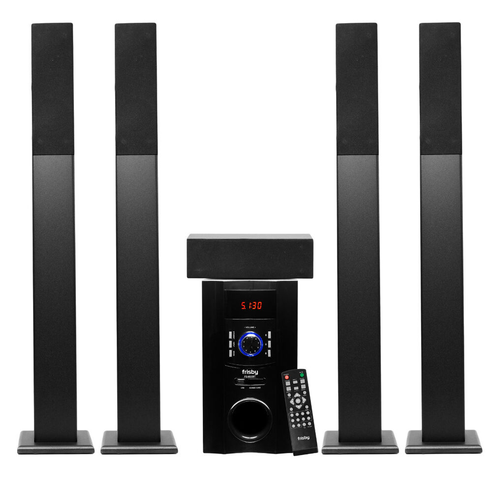 frisby fs 6500 5 1 surround sound home theater tower speaker system w bluetooth ebay. Black Bedroom Furniture Sets. Home Design Ideas