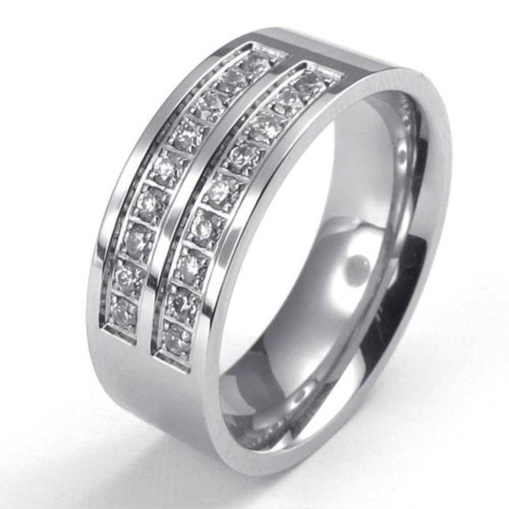 Wedding Band Stainless Steel 8mm: 8mm Polished Stainless Steel CZ Engagement Wedding Band