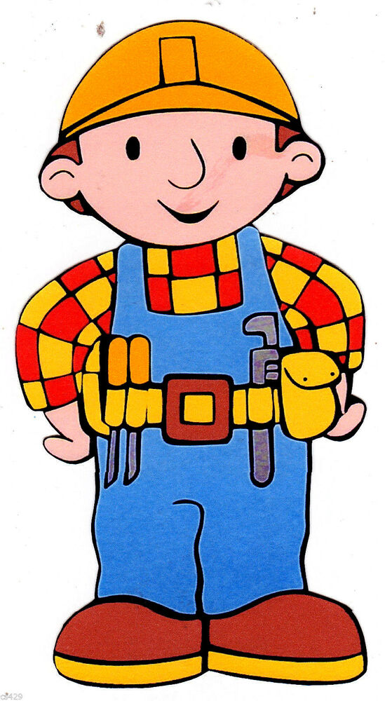 10 quot bob the builder character wall sticker glossy border