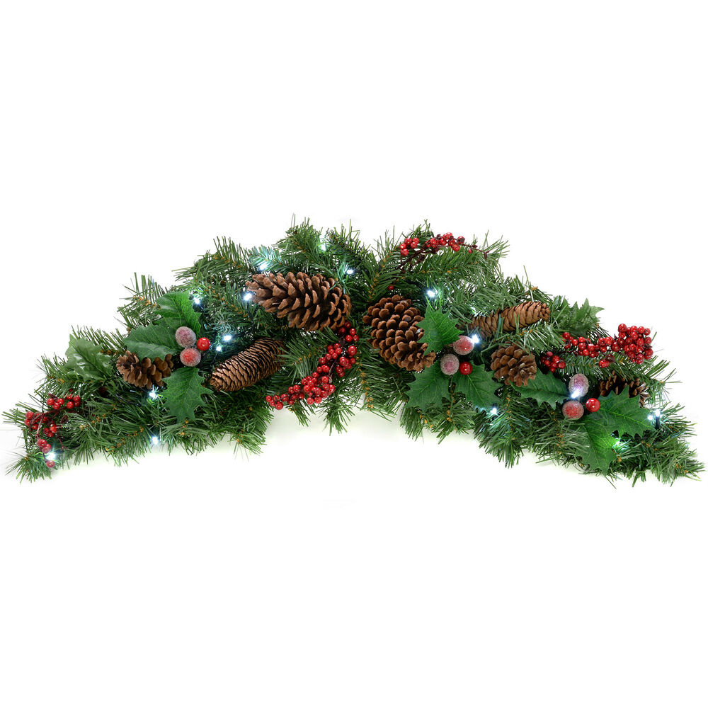 Natural pine cone berry pre lit arch garland christmas