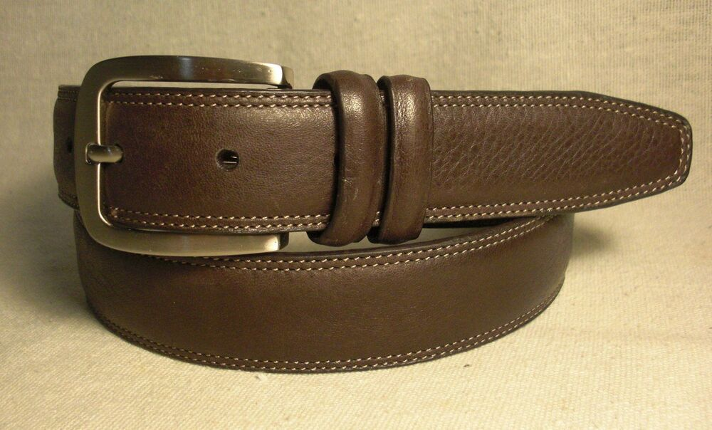 non branded mens brown synthetic leather dress belt size