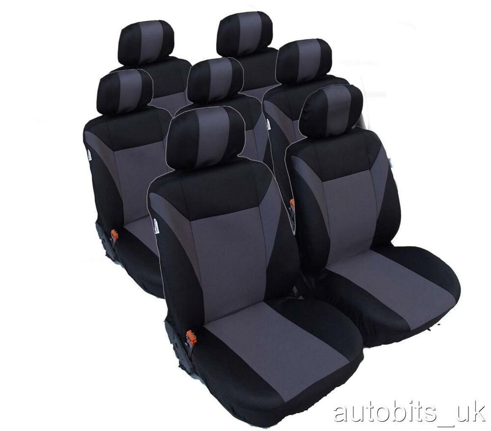 full set grey black 7 seater fabric seat covers for vw. Black Bedroom Furniture Sets. Home Design Ideas