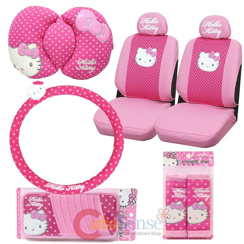 Hello kitty car seat cover accessories set 8pc collage - Hello kitty car interior accessories ...