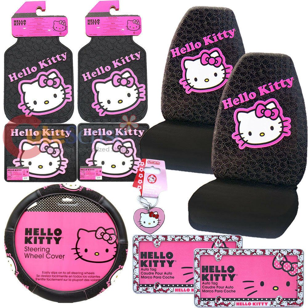 Hello Kitty Car Seat Cover Accessories Set 10pc Collage W License Plate Frames Ebay
