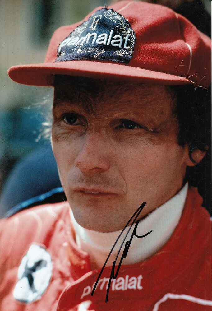 niki lauda hand signed f1 parmalat racing brabham 12x8 photo ebay. Black Bedroom Furniture Sets. Home Design Ideas