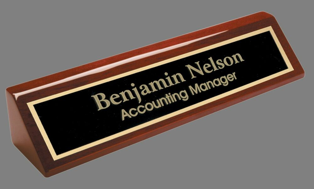 Engraved Desk Name Plate Rosewood Block Black Brass