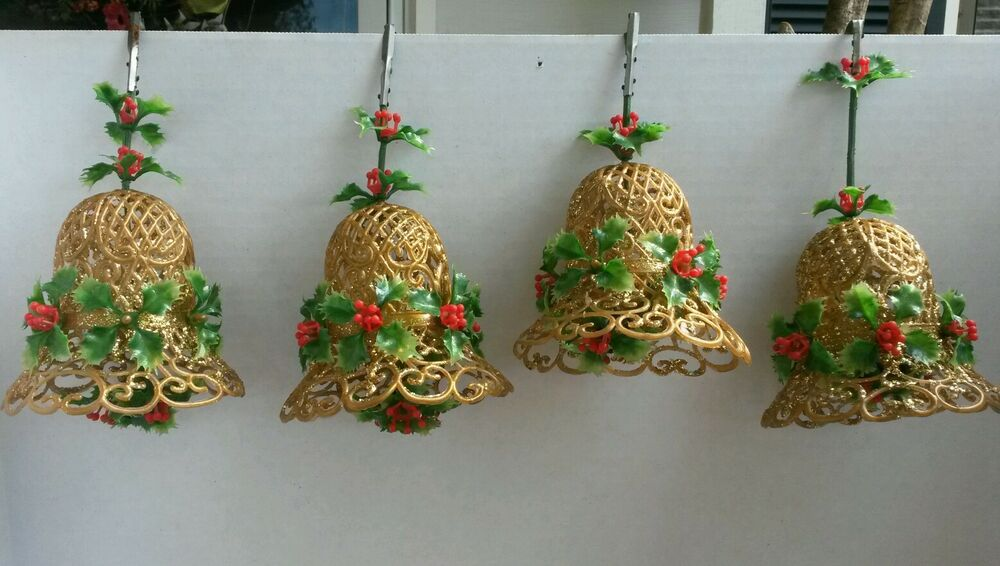 Vintage Christmas Bells Holly Berry Glitter Ornament