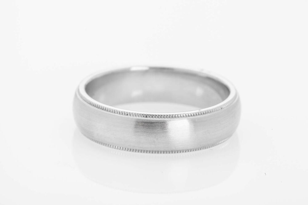 Estate tiffany co platinum 6mm milgrain mens wedding for Tiffany mens wedding ring