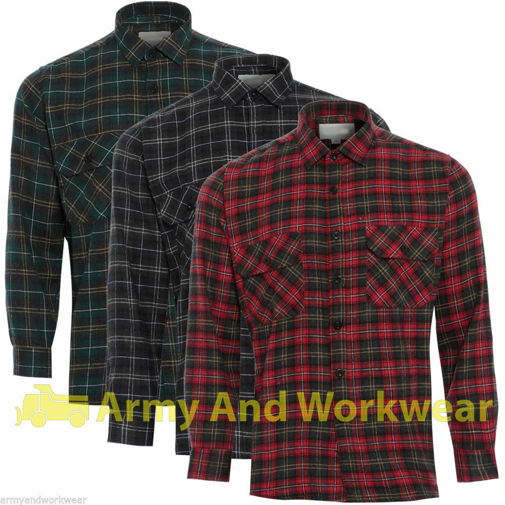 lumberjack woven check warm flannel work mens casual working shirt 100 cotton ebay. Black Bedroom Furniture Sets. Home Design Ideas
