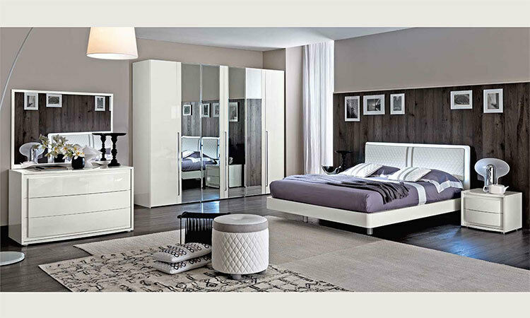 modernes elegantes komplett schlafzimmer wei hochglanz italienische stilmoebel ebay. Black Bedroom Furniture Sets. Home Design Ideas