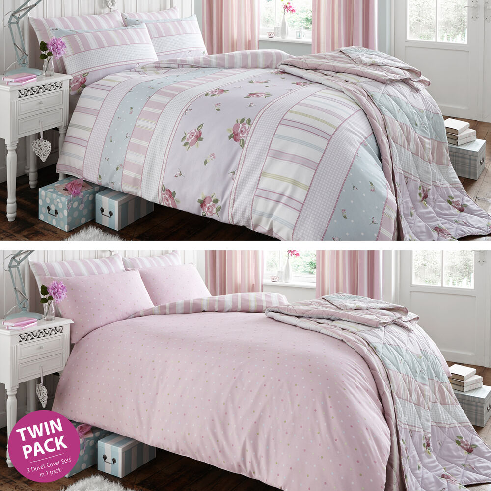 2 catherine lansfield vintage pink rose polka dot duvet quilt cover bedding set ebay. Black Bedroom Furniture Sets. Home Design Ideas