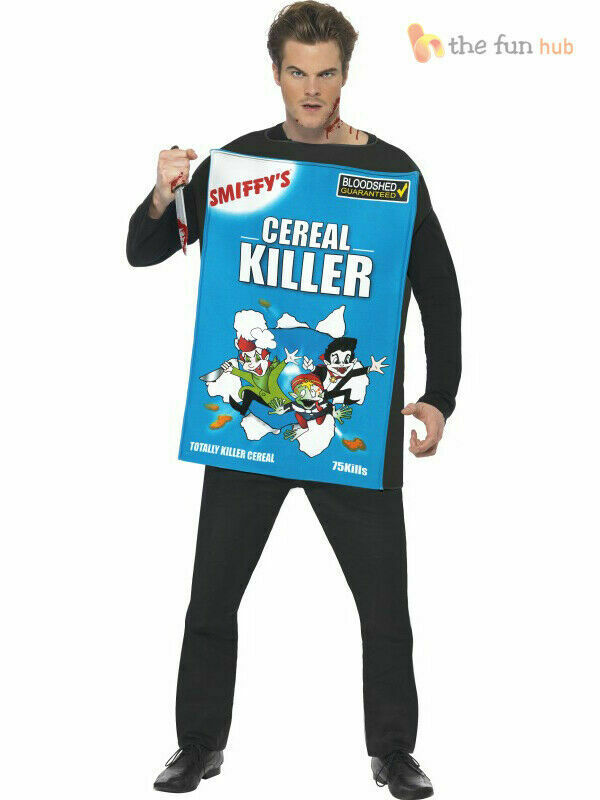 Adult Mens Cereal Serial Killer Funny Halloween Fancy Dress Costume Outfit - eBay