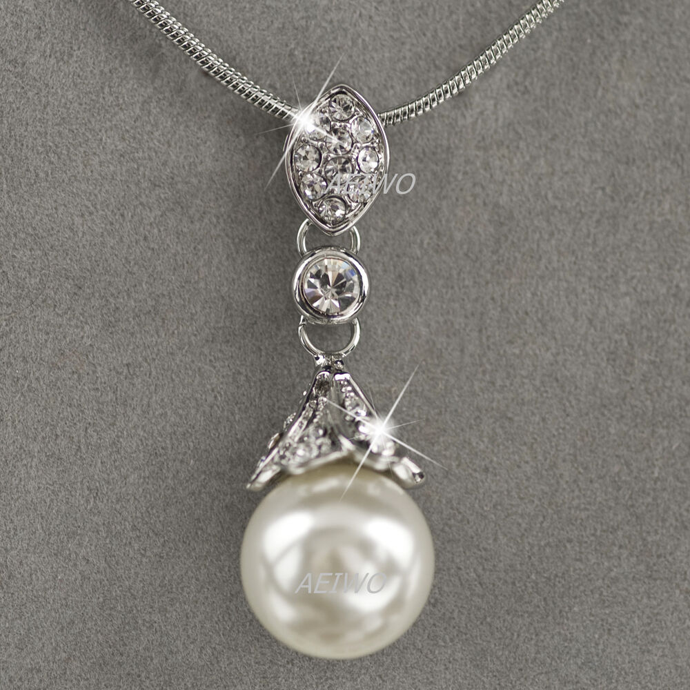 White Pearl Pendant Necklace: 18K WHITE GOLD GF MADE WITH SWAROVSKI CRYSTAL PEARL