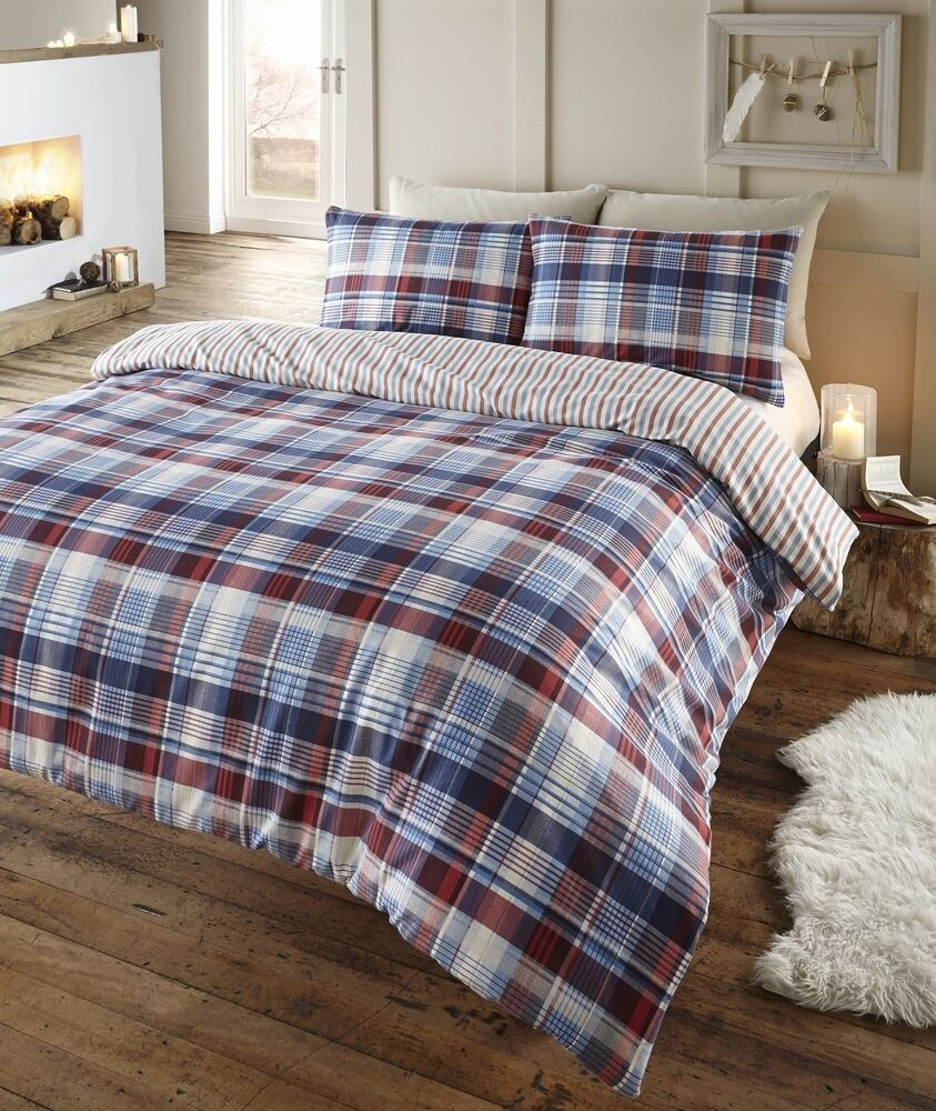 Blue Angus Tartan Check Flannelette Duvet Set In Single