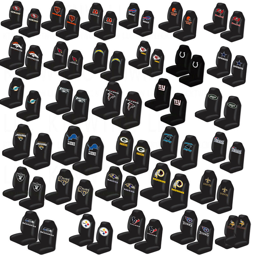 brand new nfl all teams car truck universal fit 2 front bucket seat covers set ebay. Black Bedroom Furniture Sets. Home Design Ideas