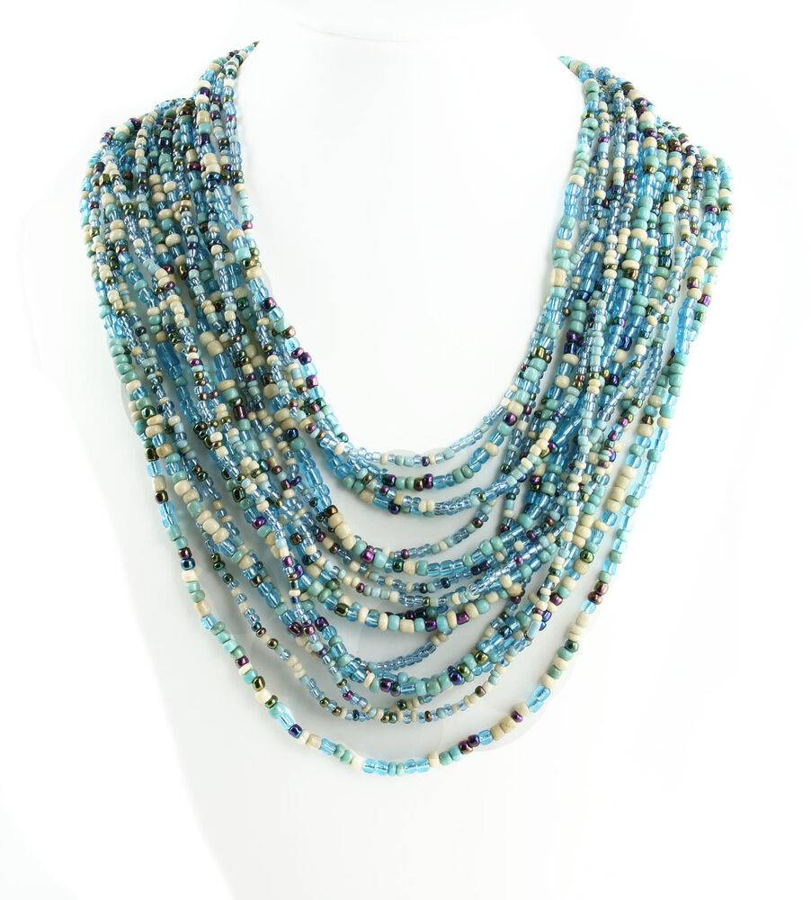 made multi strand seed bead necklace tribal style