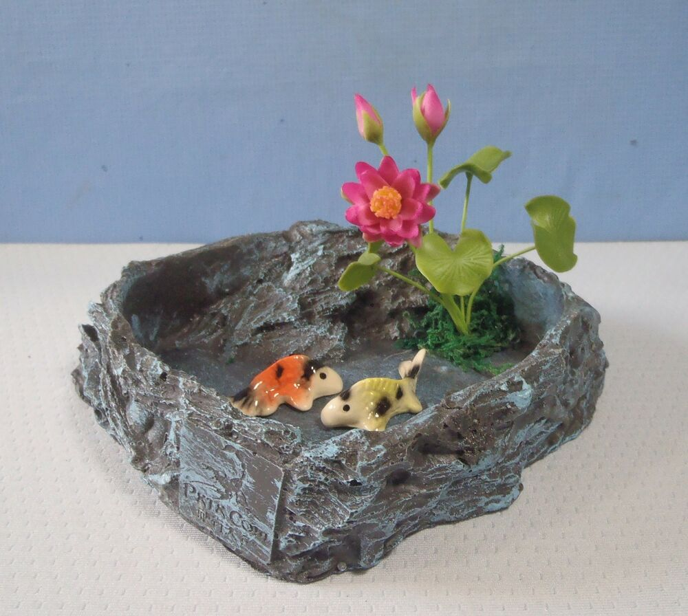 miniature artificial fish pond with carps koi lotus e u