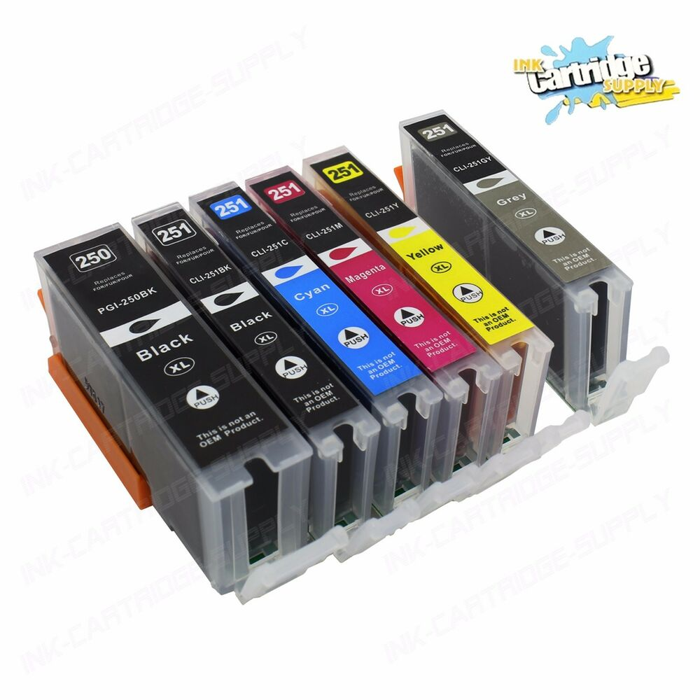 6Pk New Ink For PGI-250XL CLI-251XL Canon Pixma MG5422